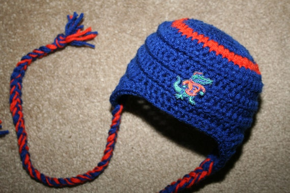 Baby Gator Football Blue and Orange Earflap Cap 3-12 mos.