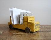 Vintage Handmade Wooden Truck Toy Desk Letter Holder