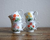 Set of Four Vintage Floral Tea Cups