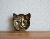 Vintage Brass Cat Plate