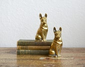 Vintage Pair of Brass German Shepherd Dogs