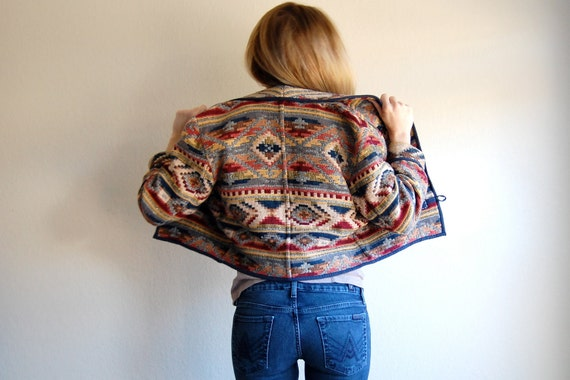 Vintage Oversized Cropped Southwestern Jacket Size Small
