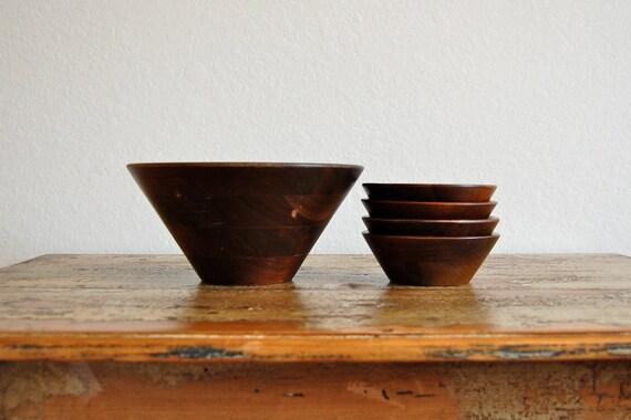 Set of Five Vintage Wooden Bowls