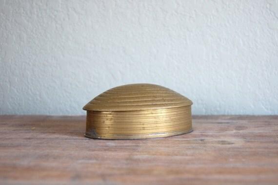 vintage brass clam box