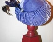 RESERVED FOR CANDACE Periwinkle blue velvet vintage hat
