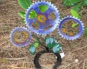 Bicycle sprocket and horseshoe garden flowers pc.69