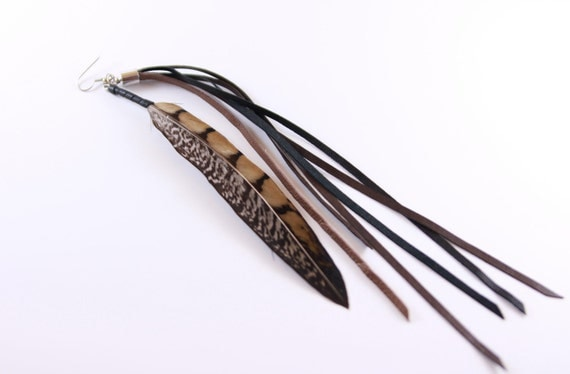 bohemian long single pheasant feather with strips of leather earring, single earring