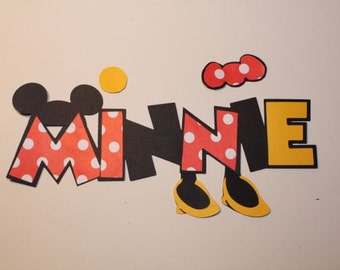 Minnie mouse paper pieced title