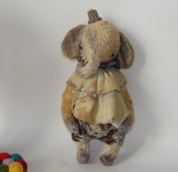 NEW PDF Epattern for 9 inch Vintage Looking Handmade Artist Clown Teddy Elephant plus the pattern for the outfit by Sasha Pokrass