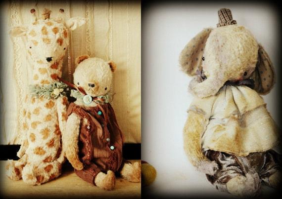 Super deal 3 PDF Epatterns patterns for 9 inch Vintage Style Panda Bear, Clown Elephant and 11 inch Giraffe by Sasha Pokrass