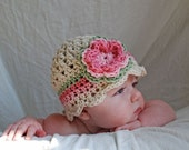 Baby Flower Beanie Hat with stripe and scalloped edge - any size