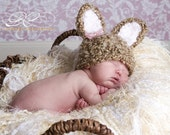 Fuzzy Baby Bunny Hat - photo prop - brown