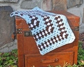 Baby Afghan Blanket - granny square design - baby blue, chocolate brown, white