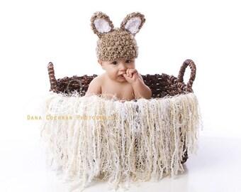 Newborn fringe blanket photography prop - Toasted Coconut