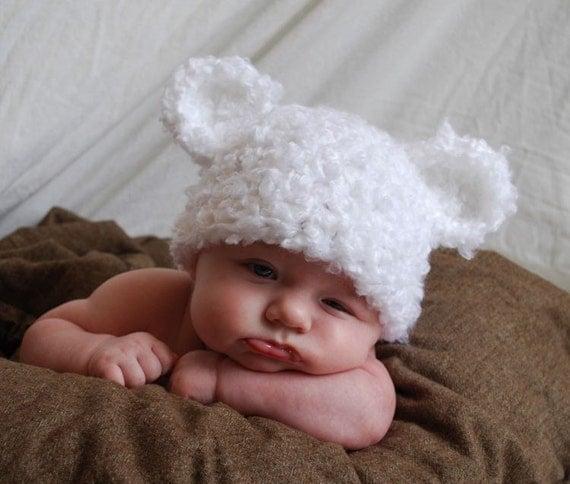 Fuzzy Teddy Bear Hat with ears - White