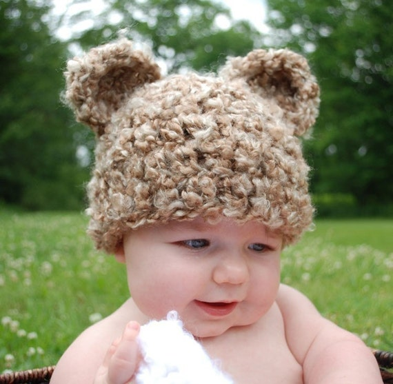 cute brown baby bear hat with ears - any size