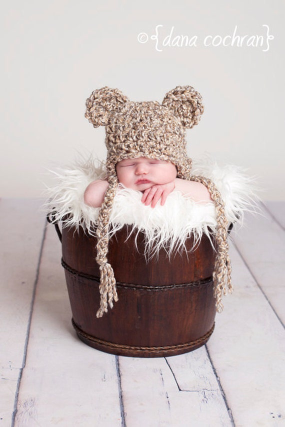 Newborn Baby Bear Earflap Hat - oatmeal
