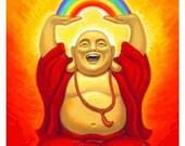 LAUGHING BUDDHA spiritual art Buddhist poster Zen Buddhism good luck feng shui print happy rainbow