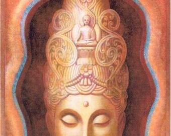 Healing Tara Tibetan Buddhist Goddess Spiritual art 5x7 card Kuan Yin Buddhism female Buddha