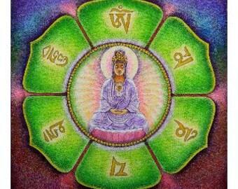 Spiritual Art Meditation Mandala mantra Kwan Yin Goddess Zen poster print OM Mani Padme Hum
