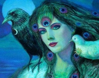 Goddess Art tribal woman crow peacock feathers lady birds poster print of painting by Sue Halstenberg