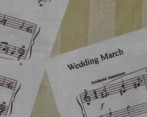 Wedding Music Fabric-Sheet Music on Gold-Cake Table-Bride/Groom Table-Bridal Shower-Wedding Decor-7.50 yd