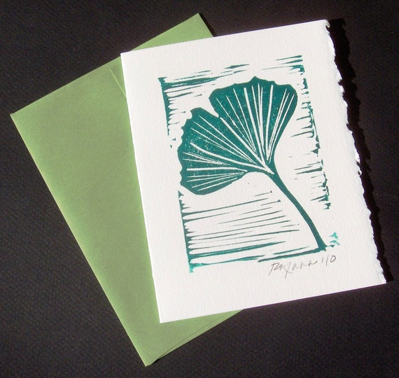 Handmade Card - Ginkgo with Green Envelope - Small