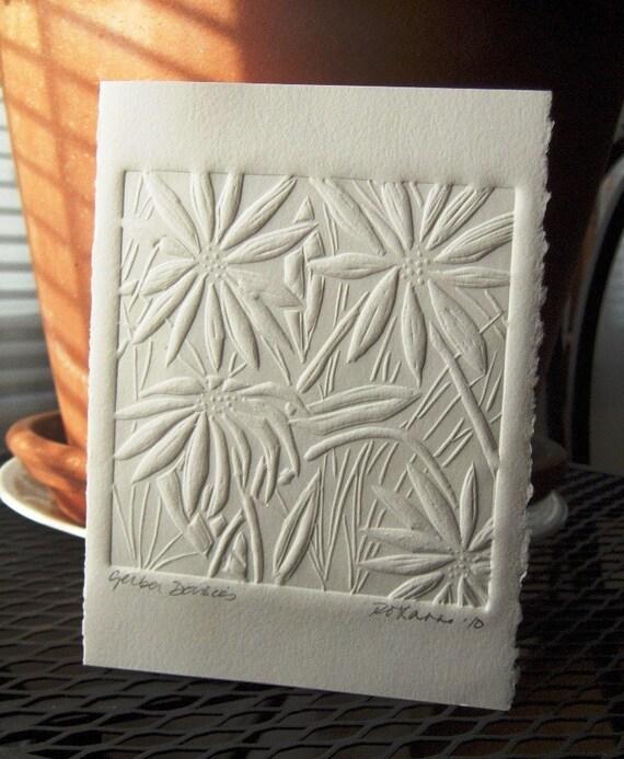 Handmade Card - Embossed Gerbera Daisies - Large