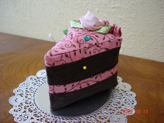Cute Chocolate Cake Slice Pincushion