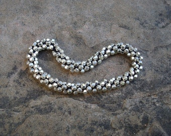 Hand Crocheted Faceted Sterling Silver Bead Bracelet