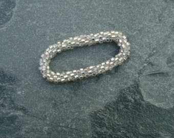 Hand Crocheted Silver-lined Clear  Glass Bead Bracelet