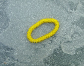 Hand Crocheted Frosted Yellow Glass Bead Bracelet