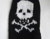 Skull and Crossbone Hand Knit Dog Sweater - Size Small