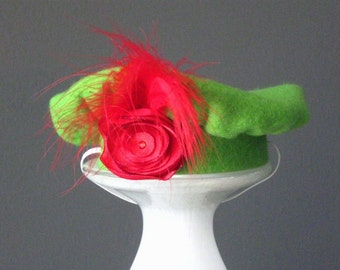 Red Rosette Dog Beret Hat