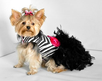 Dog Dress Feather Harness - Haute Zebra - Couture