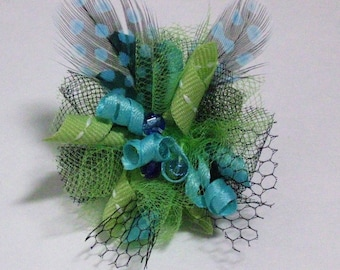 Lime and Blue Feather Fascinator Dog Hair Bow