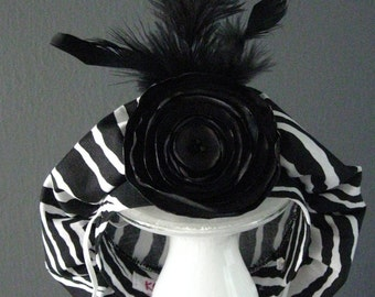 Dog Beret Hat - Zebra Feather