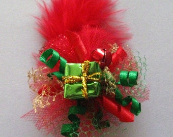 Dog Hair Bow Christmas Present Fascinator