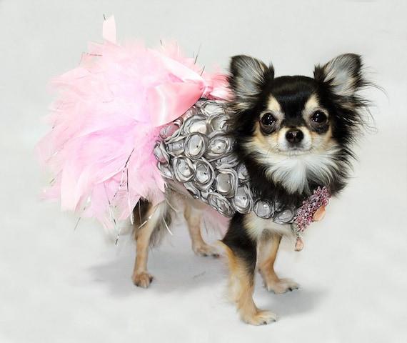 Platinum Princess Feather Harness Dog Dress