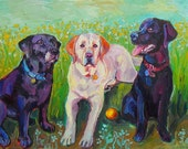 3 Labs (Labrador Retrievers) and a Ball Print by Gena Semenov  FREE SHIPPING