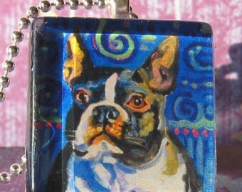 Boston Terrier glass tile pendant (Terrier on Alert) by Gena Semenov - FREE SHIPPING USA