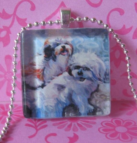 Shih Tzu Dog Pendant (Fluffy Angels) by Gena Semenov - FREE shipping USA