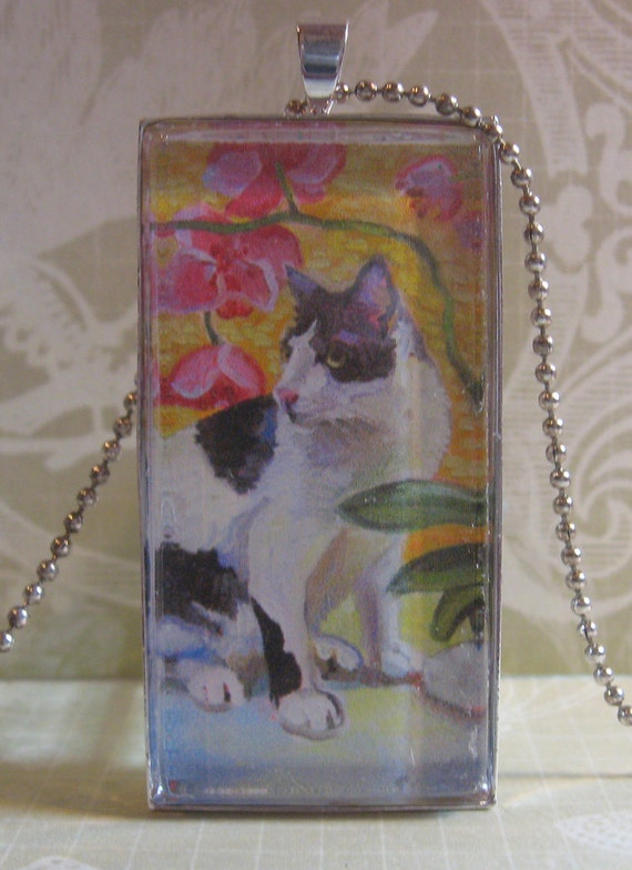Black and White Cat Glass Pendant by Gena Semenov - FREE SHIPPING USA