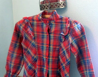 Orange plaid with RUFFLES button up long sleeve size 7