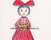 Birthday Card - Girl in Red 5 x 7 Card with Matching Envelope