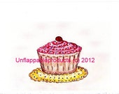 Cupcake Greeting Card One 5 x 7 Suitable for Framing