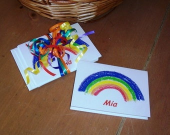 Rainbow Note Cards Invites or Any Time Blank Note Cards One Set of Five 4 by 5.5 Inch