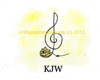 Music G Clef with Yellow Rose 5 x 7 Greeting Card with matching envelope