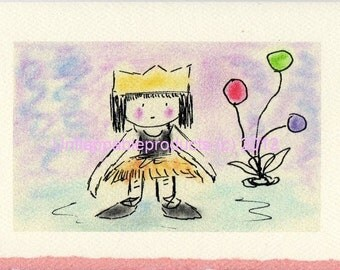 Ballerina Princess 5x 7 Greeting Card (Pink Deckle Not Available)