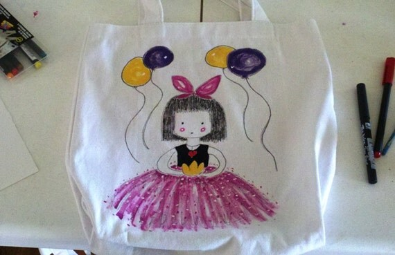 Reserved for Madre Ballet Bag Hand Painted From Original Art